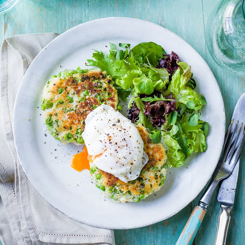 Photo of Pea and potato fritters with poached eggs by WW