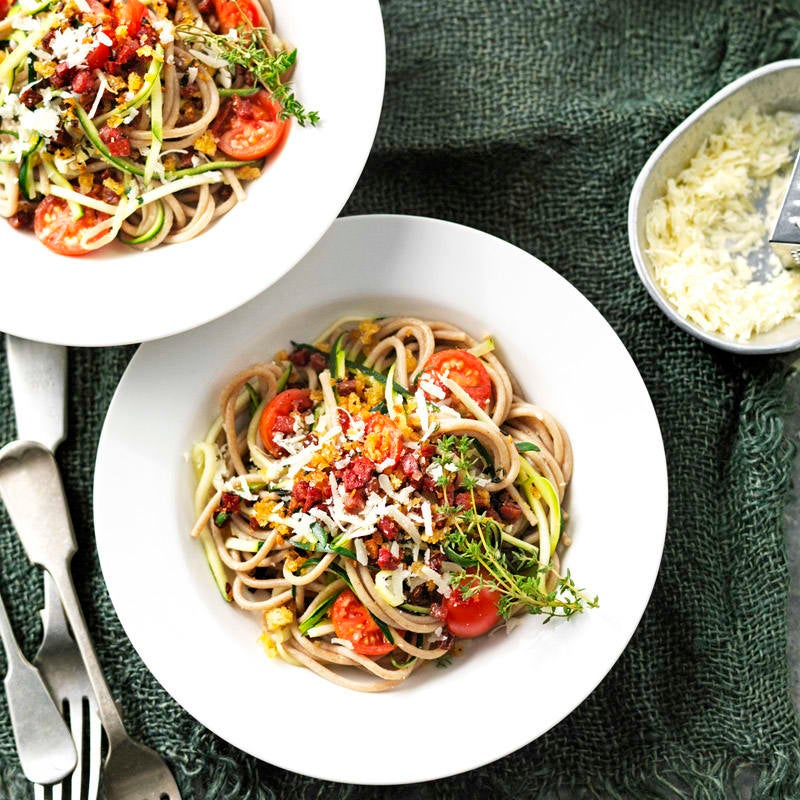 Photo of Spelt and zucchini spaghetti with chorizo and herb crumbs by WW
