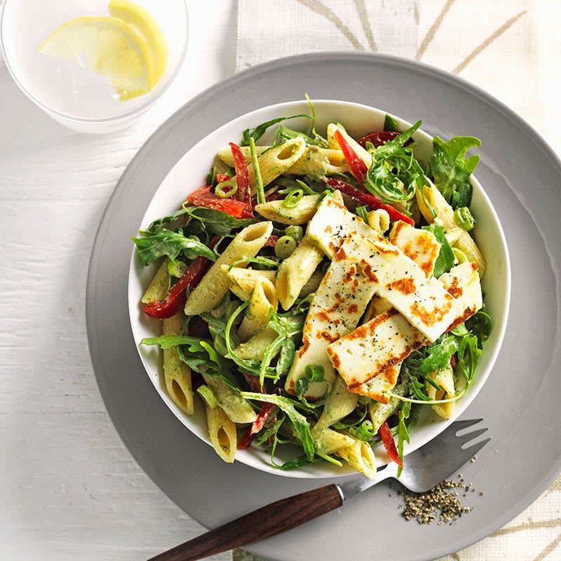 Photo of Warm pesto and haloumi pasta salad by WW