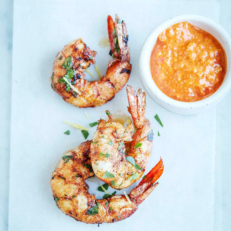 Photo of Spanish prawns with almond and roasted capsicum dressing by WW