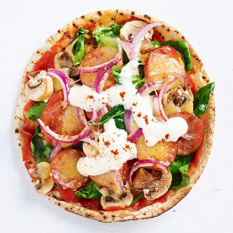 Photo of Chorizo and mushroom pizza with paprika yoghurt by WW