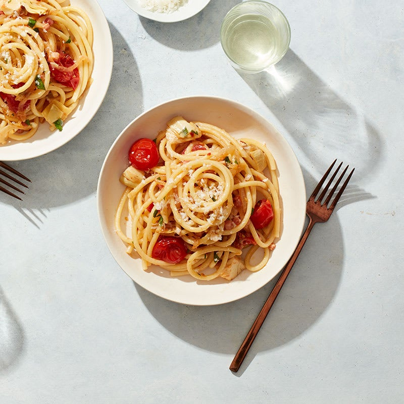 Photo of Spicy pancetta and cherry tomato pasta by WW