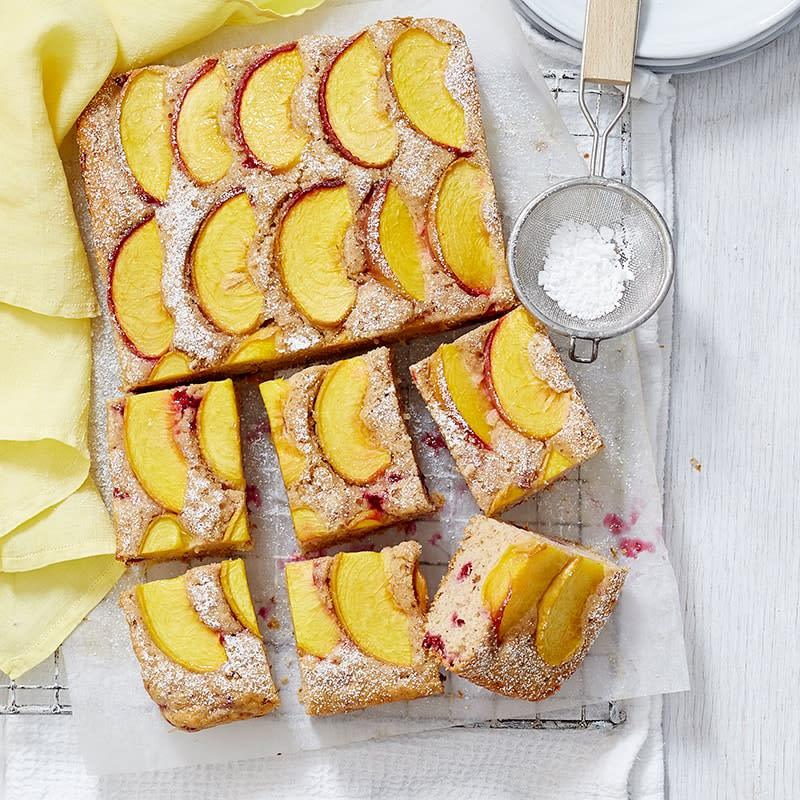 Photo of Peach, almond and raspberry tray cake by WW