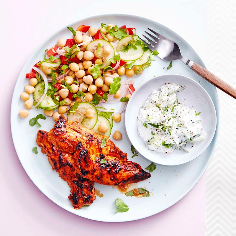 Photo of Grilled tandoori chicken with chickpea salad and raita by WW
