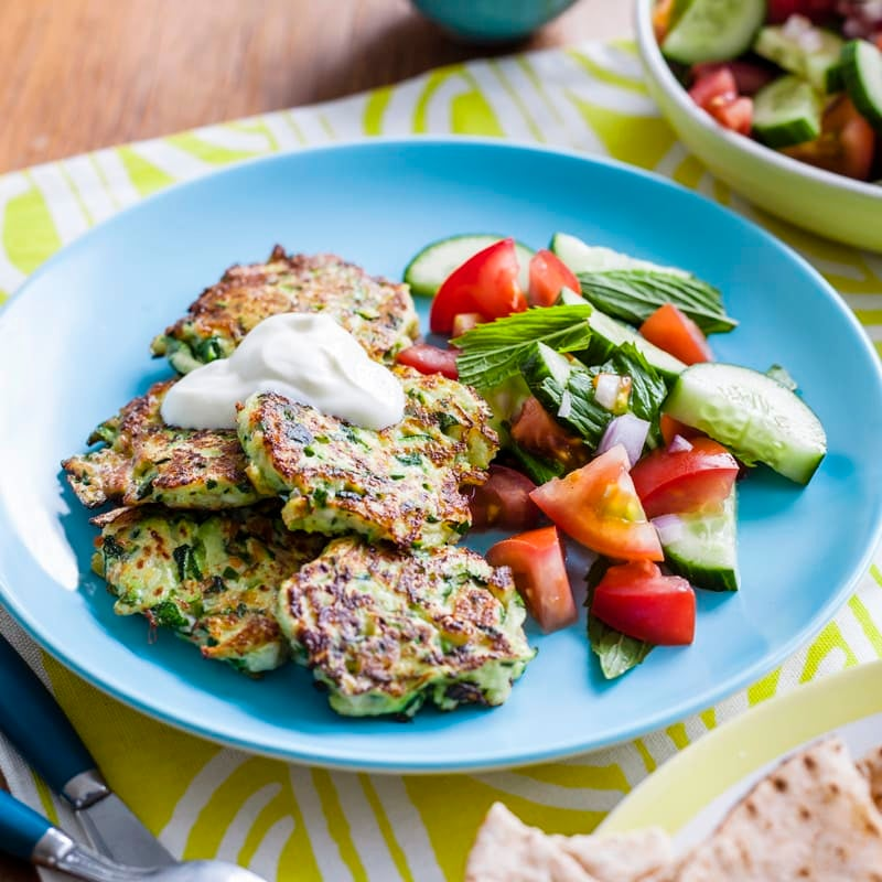Photo of Zucchini and haloumi fritters with yoghurt by WW