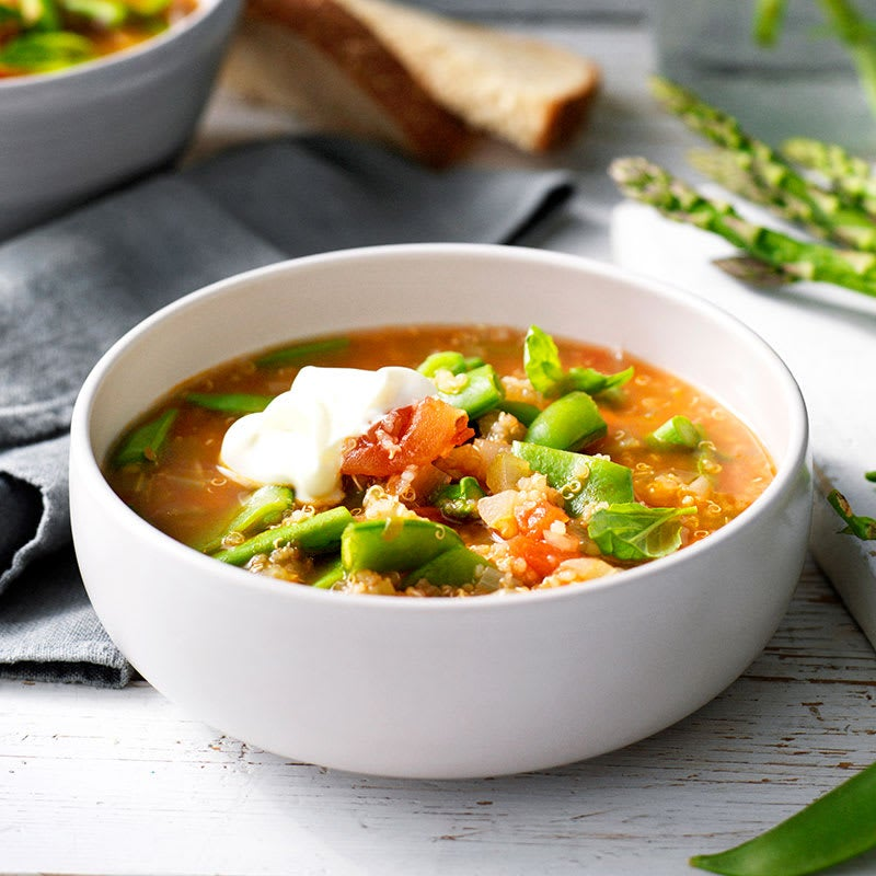 Photo of Quinoa, tomato and spring vegetable soup by WW