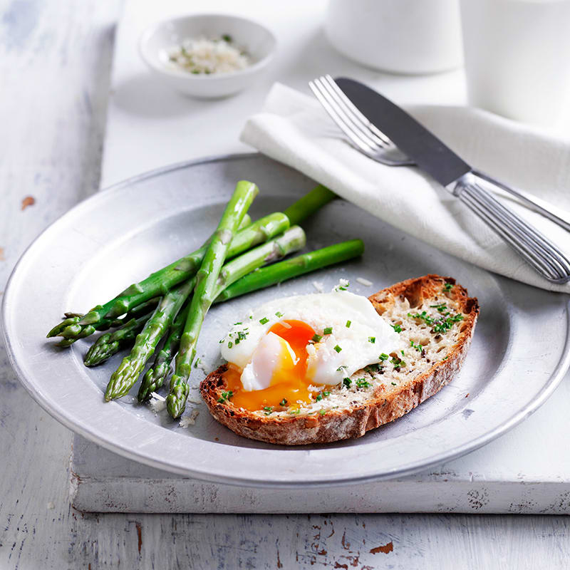 Photo of Poached egg and asparagus with parmesan chive toast by WW