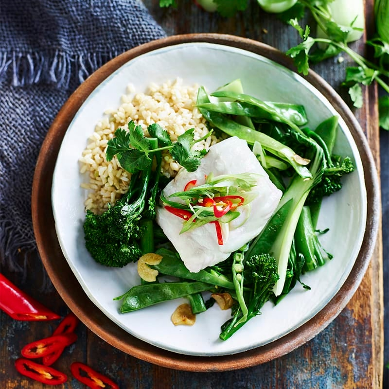 Photo of Steamed chilli and shallot fish with garlic sesame greens by WW