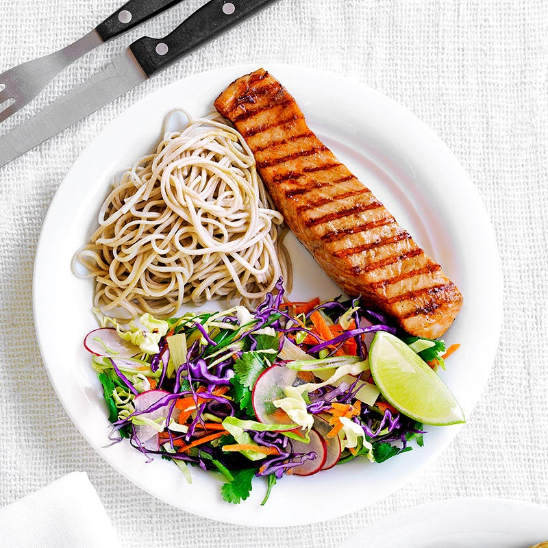 Photo of Grilled salmon with soba noodles and Asian slaw by WW