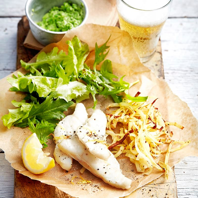 Photo of Baked fish with curly wurly fries and pea puree by WW