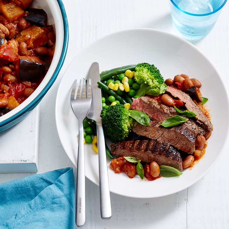 Photo of Grilled beef with bean and eggplant stew by WW