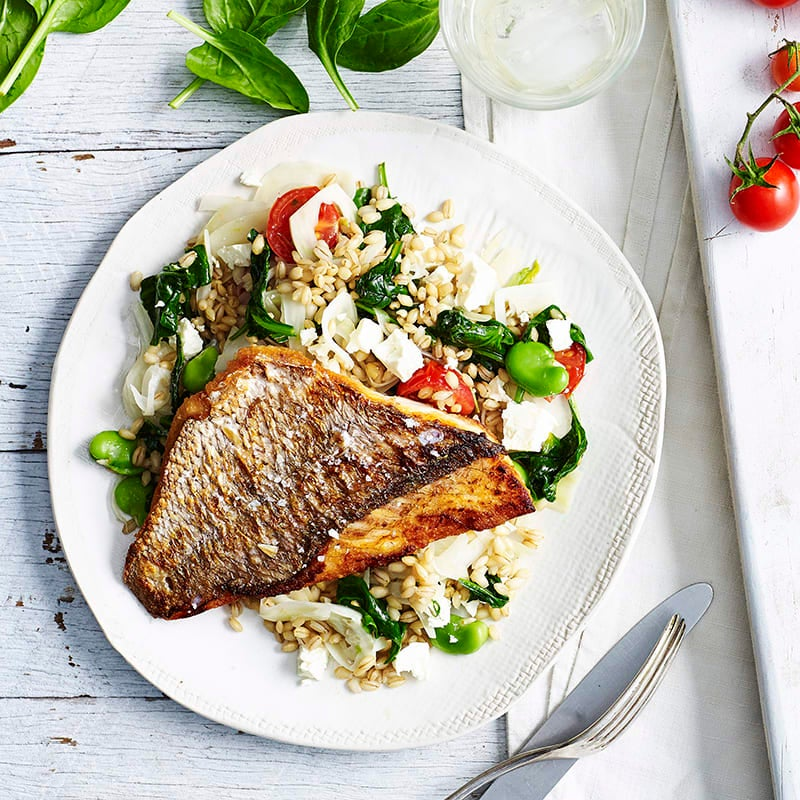 Photo of Snapper with warm barley, fennel and broad bean salad by WW