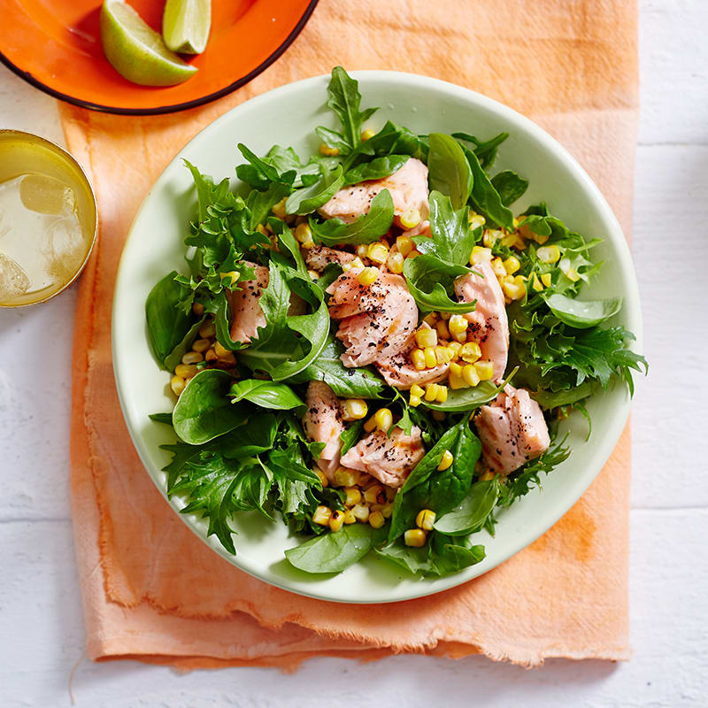 Photo of Grilled salmon, corn and basil salad by WW