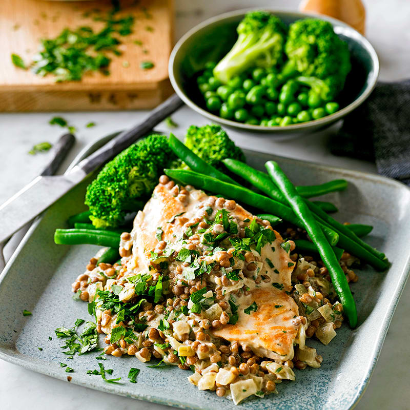 Photo of Creamy mustard chicken with lentils by WW