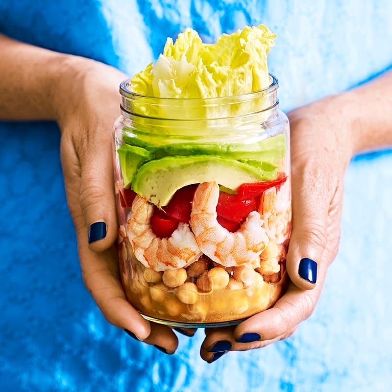 Photo of Roasted capsicum, prawn, chickpea and avocado salad jar by WW