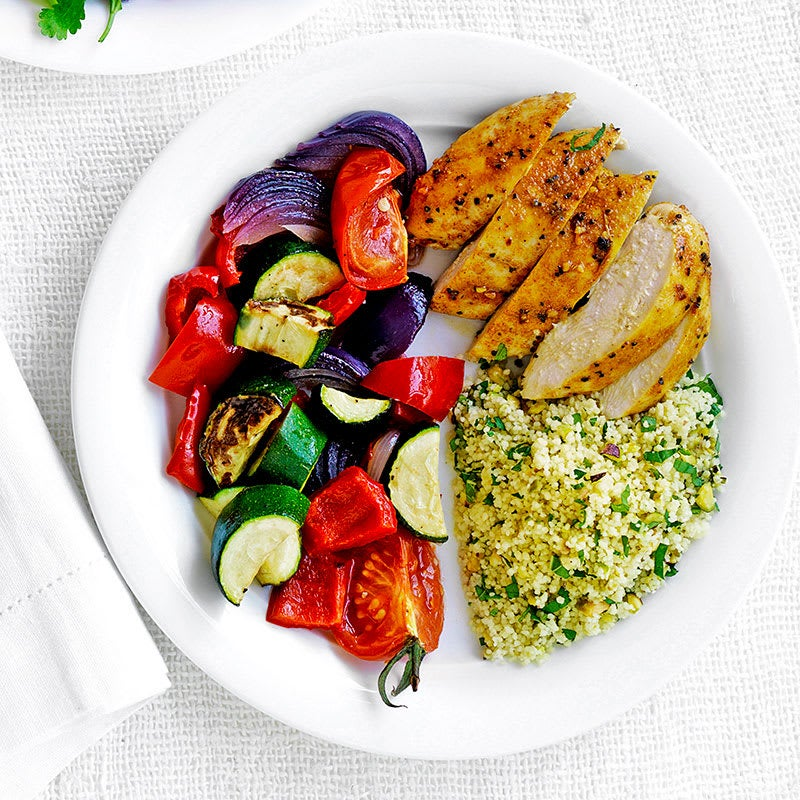 Photo of Moroccan chicken with couscous and roasted vegetables by WW