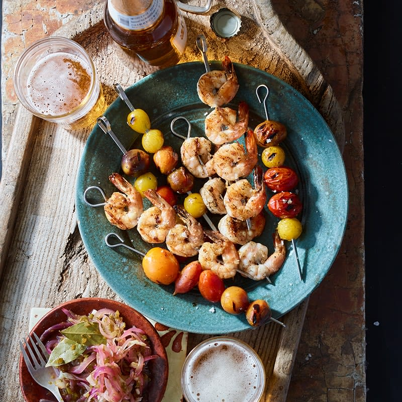 Photo of Prawn kebabs with onion and jalapeno relish by WW