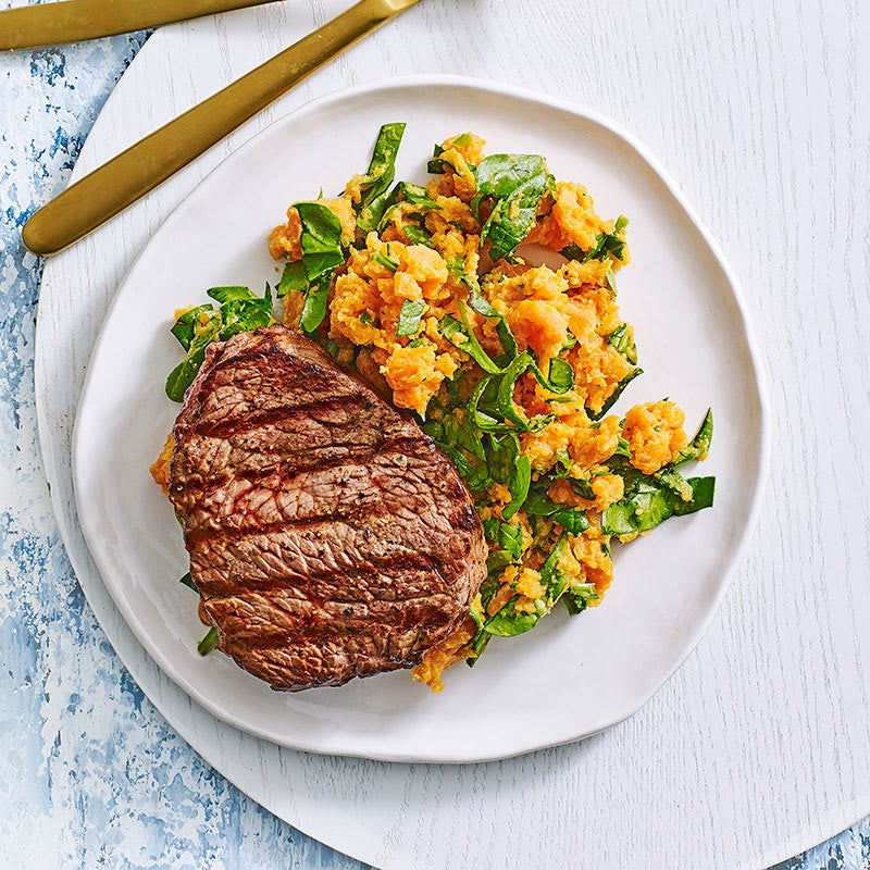 Photo of Grilled steak with sweet potato and spinach mash by WW