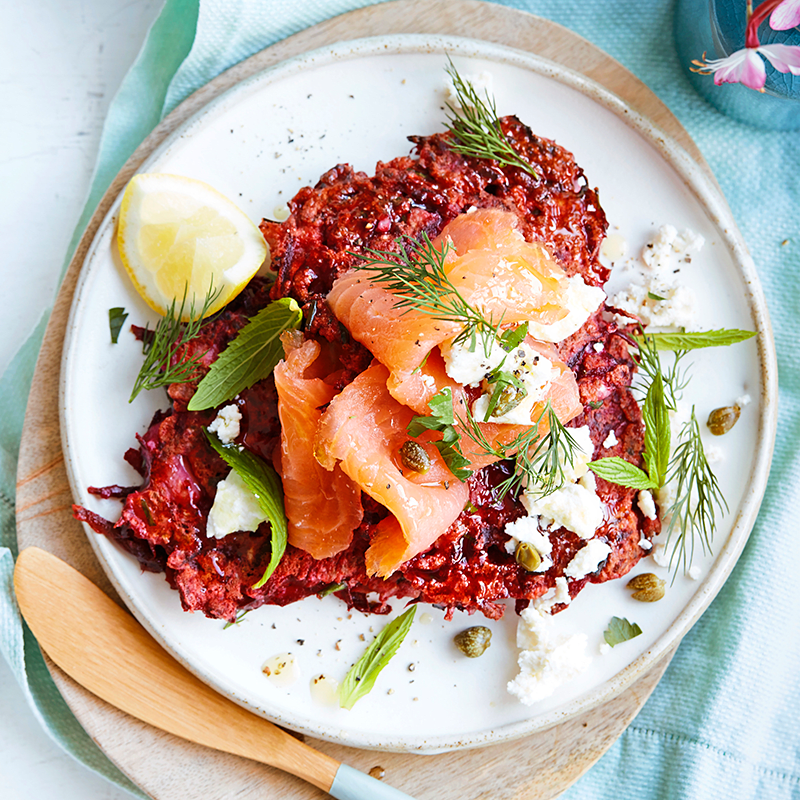 Photo of Beetroot and cauliflower fritters topped with smoked salmon by WW