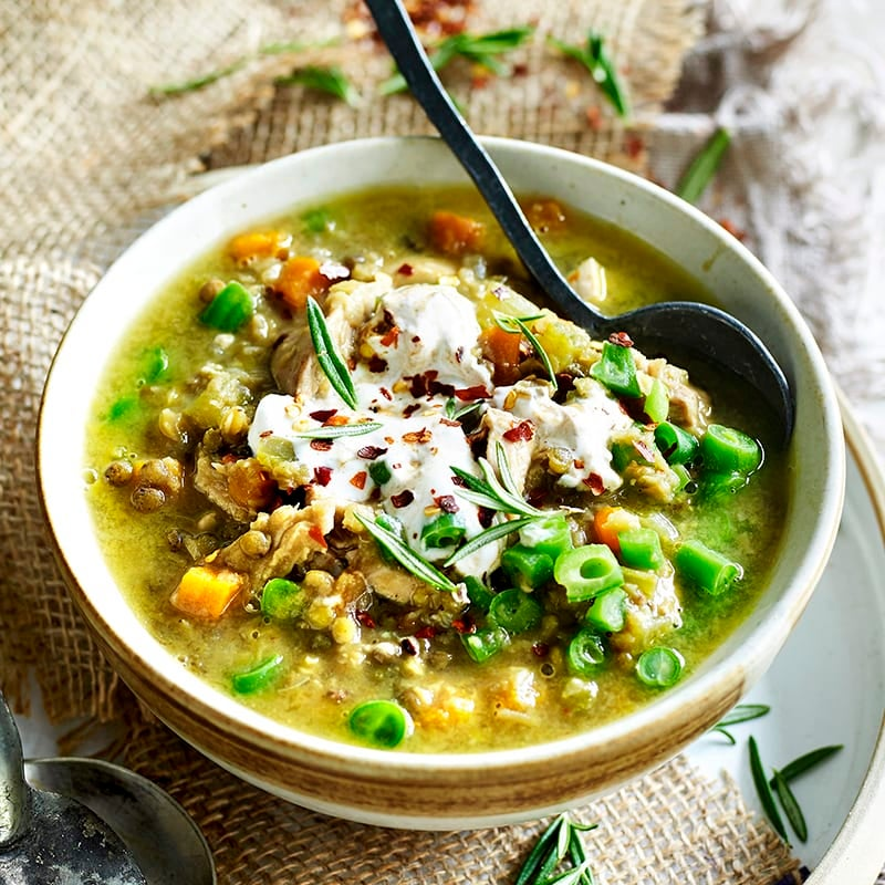 Photo of Chicken and lentil soup with spiced yoghurt by WW