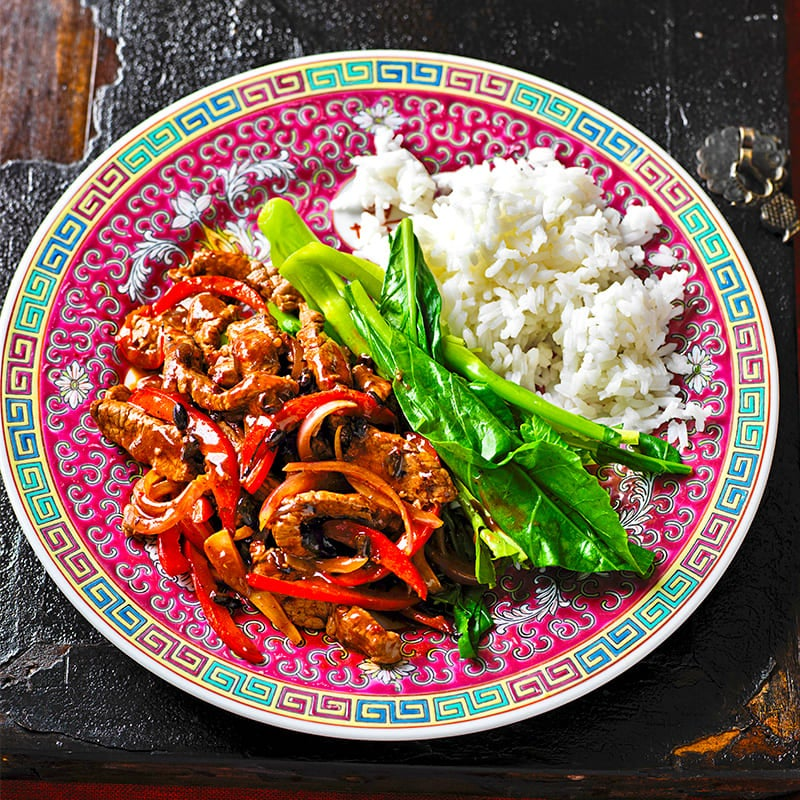 Photo of Beef in black bean sauce with rice and greens by WW