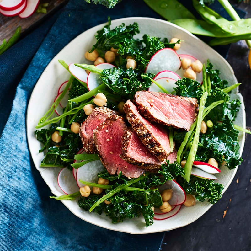 Photo of Spice-crusted beef with chickpeas, kale and radish salad by WW