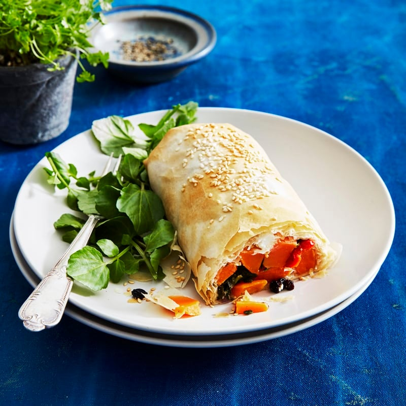 Photo of Sweet potato, roast capsicum, goats cheese and currant strudel by WW