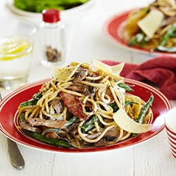 Photo of Creamy spaghetti with bacon, beans and mushroom by WW