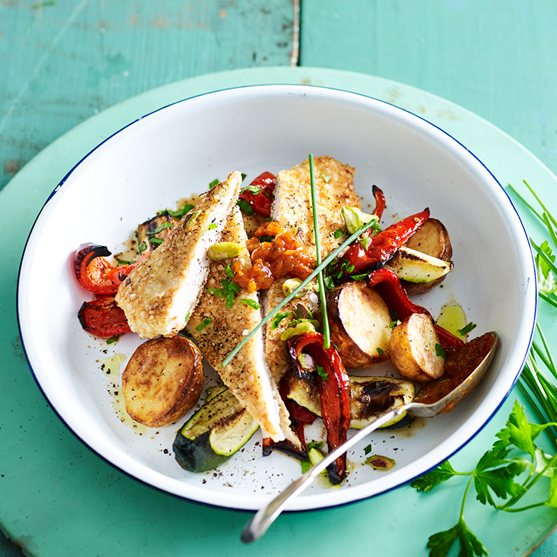 Photo of Pistachio and herb crumbed chicken with quick roasted vegetables by WW
