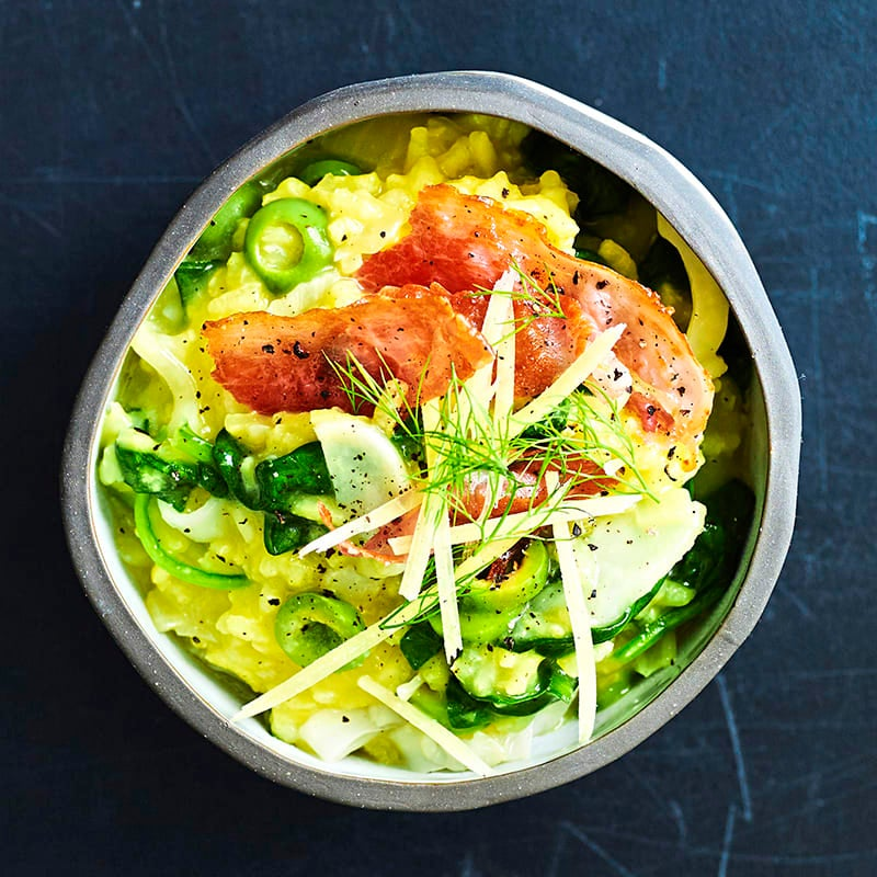 Photo of Spinach, fennel and olive risotto with crisp prosciutto by WW