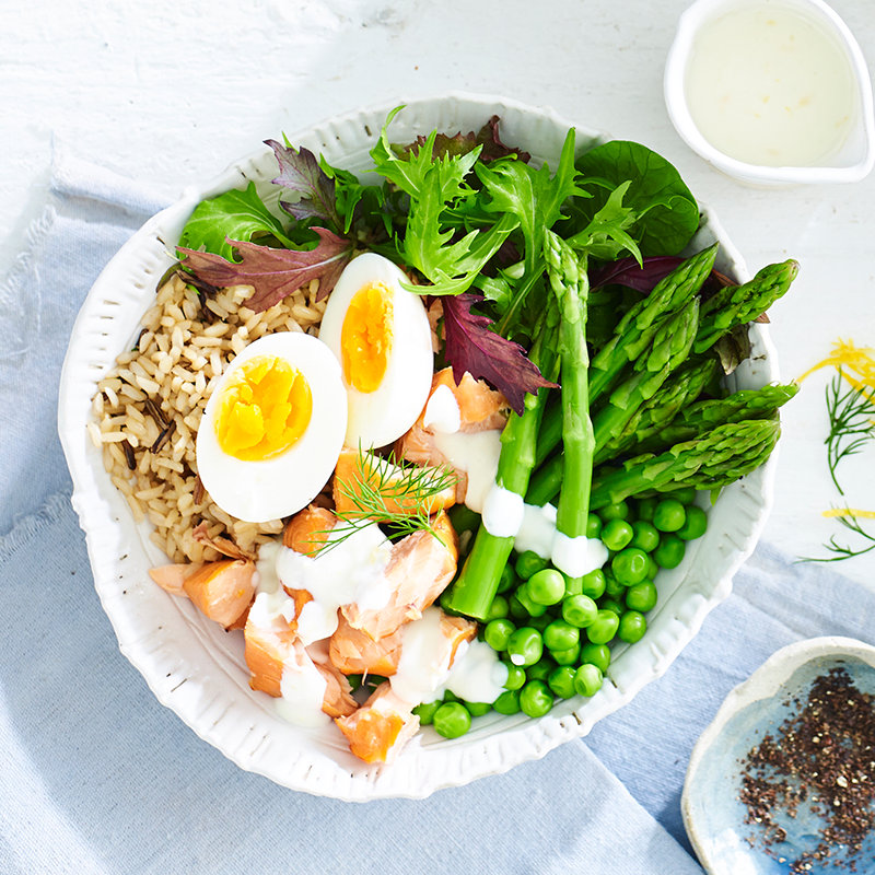Photo of Salmon, brown rice and greens bowl by WW