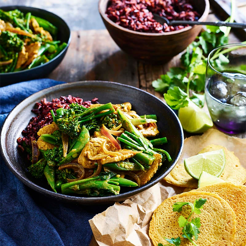 Photo of Indonesian pork curry with black rice and dosas by WW