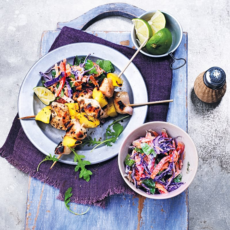 Photo of Chicken and mango kebabs with coleslaw by WW