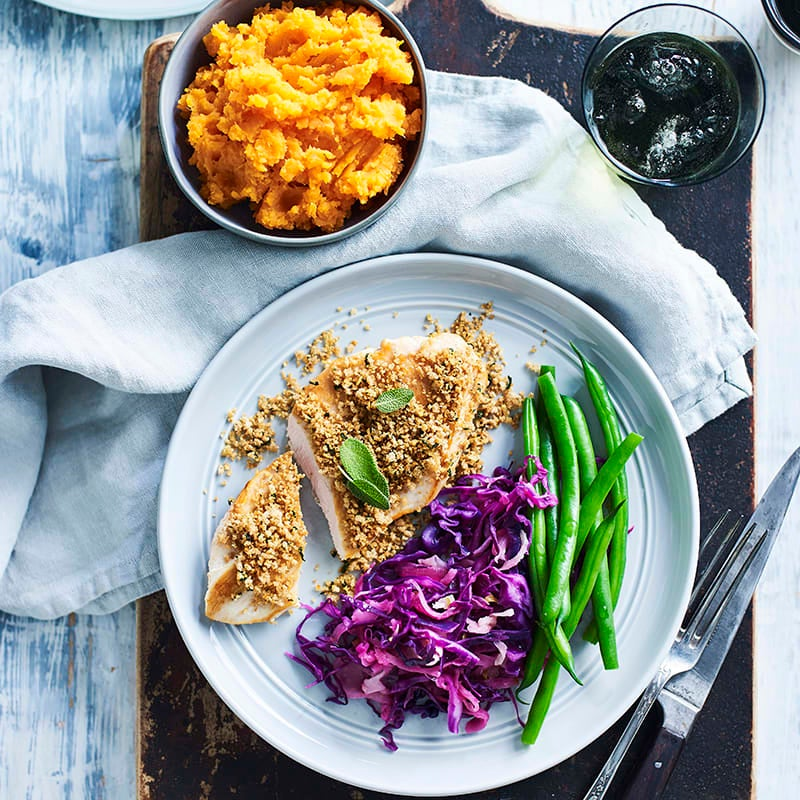 Photo of Crispy crumbed chicken with wilted red cabbage by WW