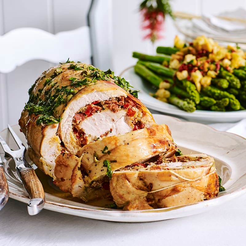 Photo of Turkey roll with chorizo stuffing and salsa verde by WW