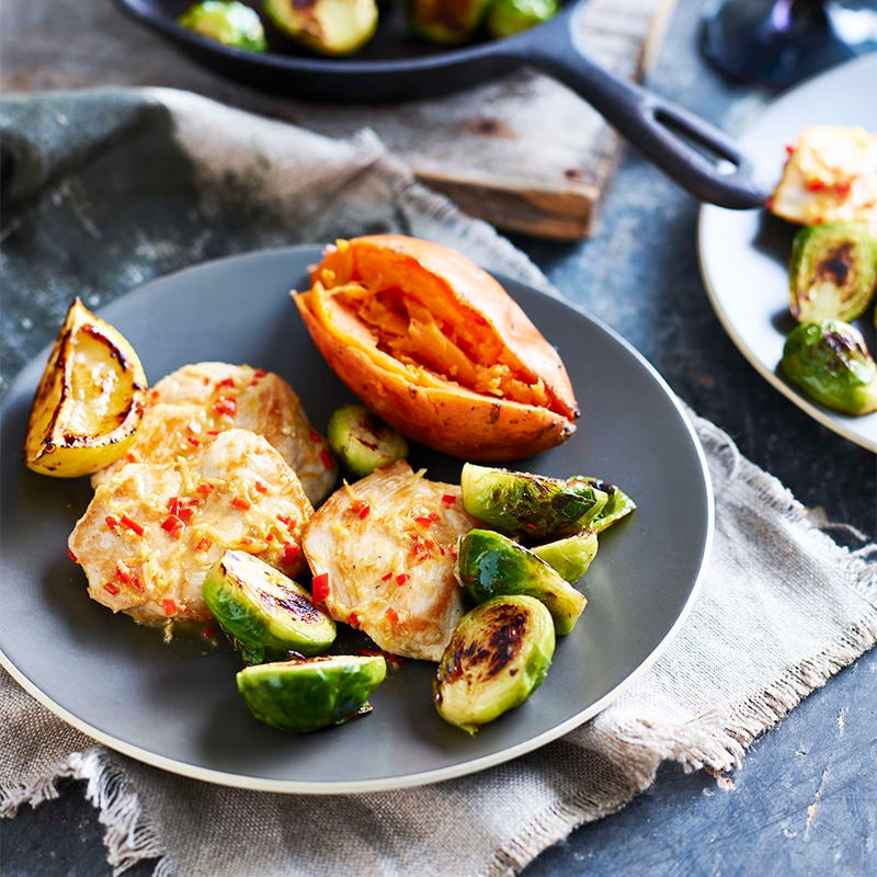 Photo of Lemon chicken with caramelised Brussels sprouts by WW