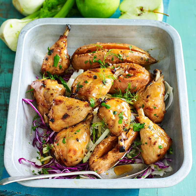 Photo of Maple and mustard chicken drumsticks with cabbage and apple slaw by WW