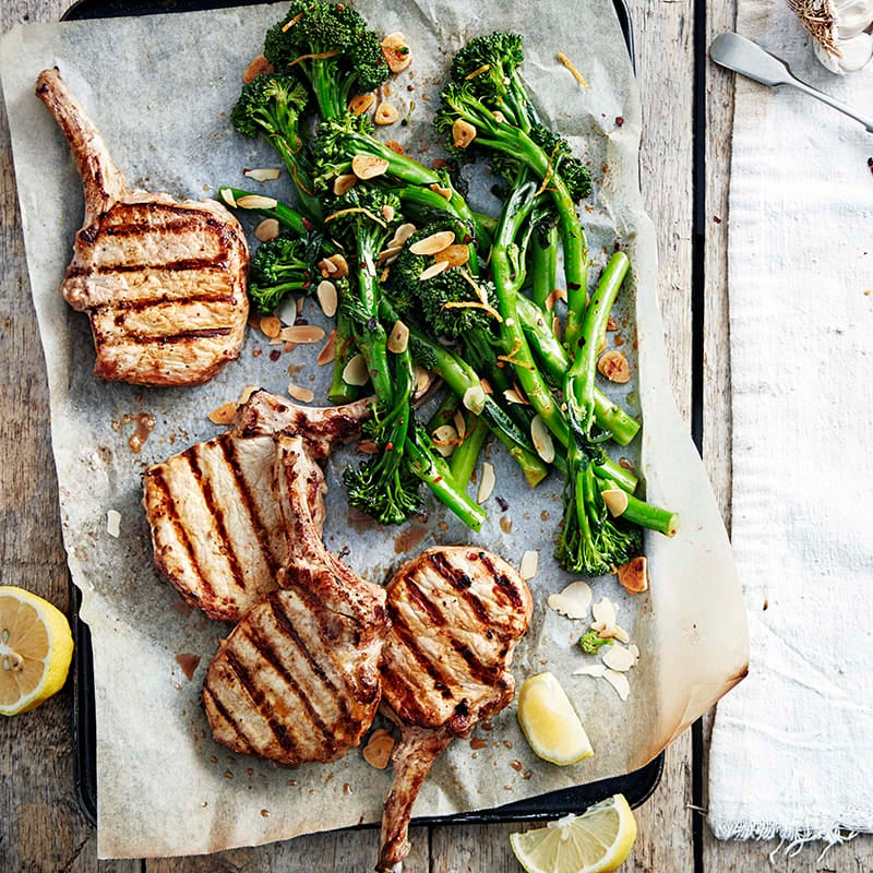 Photo of Spanish broccolini with grilled pork cutlets by WW