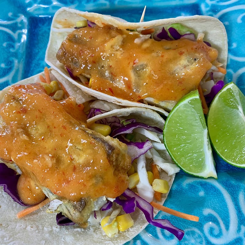 Photo of Shellie's fish tacos with mango sauce by WW