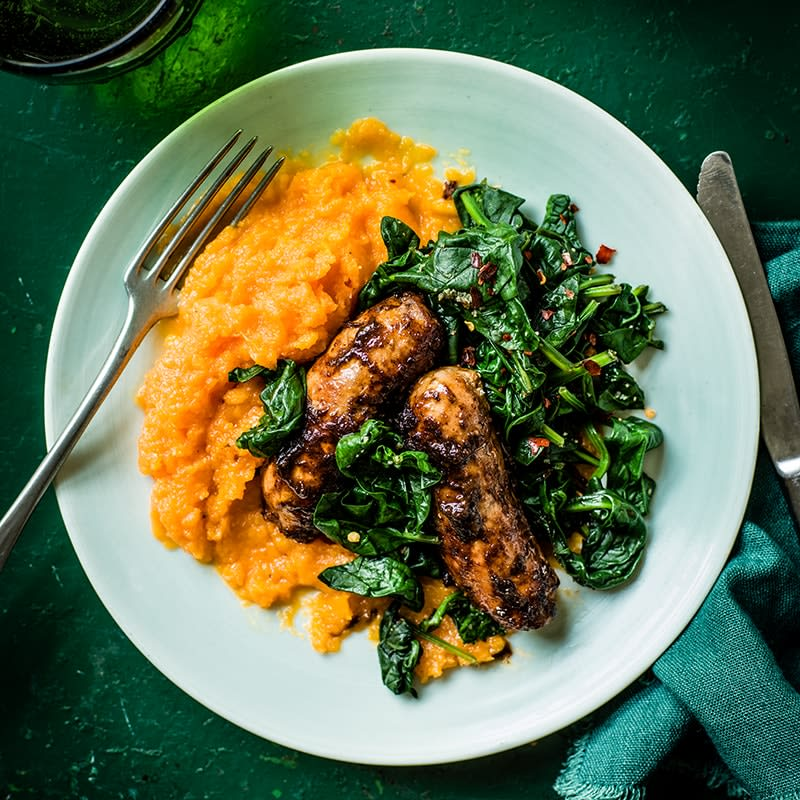 Photo of BBQ sausages with butternut pumpkin mash by WW