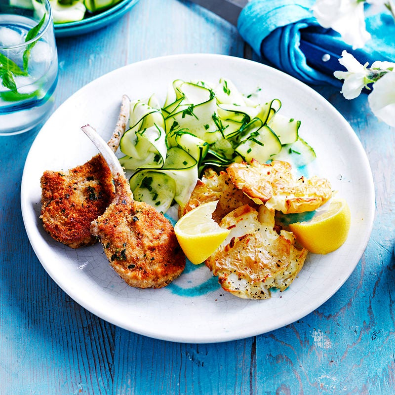 Photo of Crumbed lamb with smashed potatoes and zucchini salad by WW