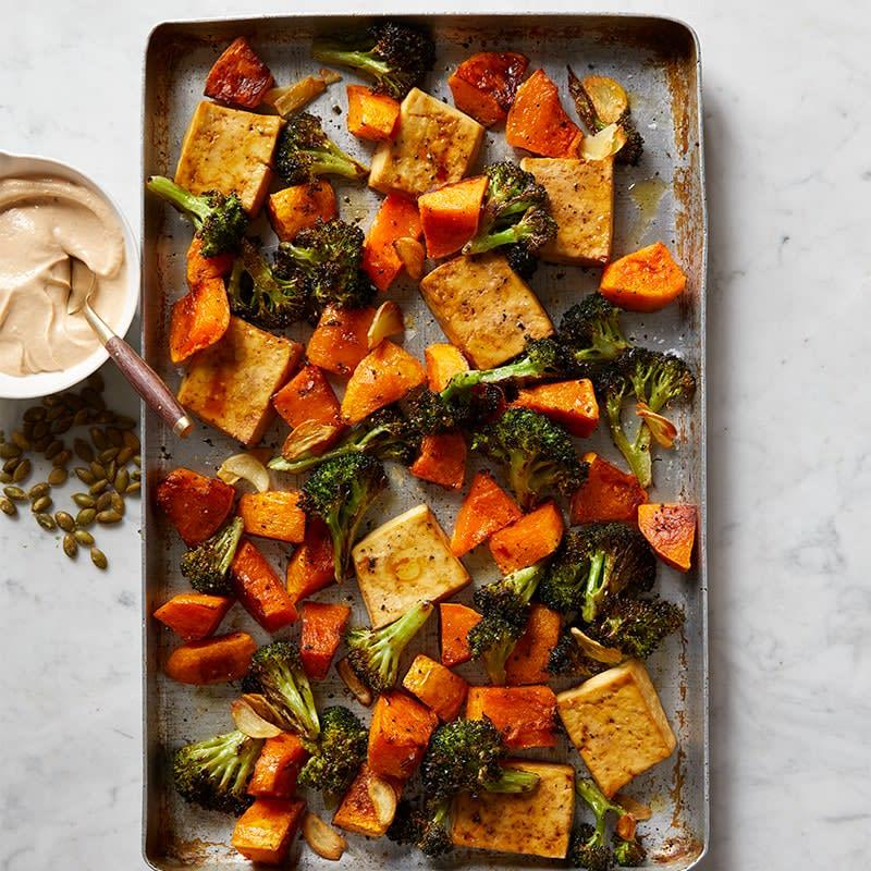 Photo of Roasted tofu, broccoli and pumpkin with creamy tahini tray bake by WW