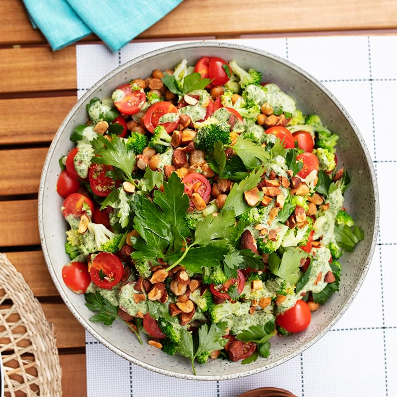 Photo of Broccoli and chickpea salad with green tahini and almonds by WW