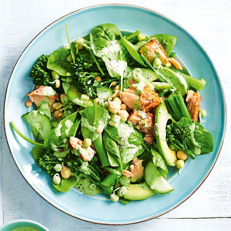 Photo of Hot-smoked salmon salad with green goddess dressing by WW