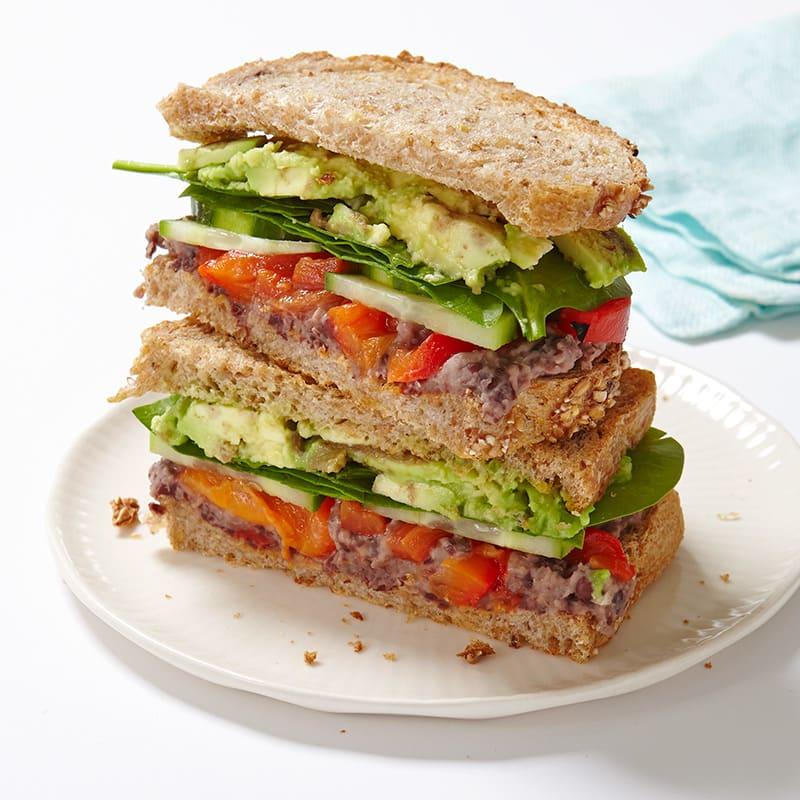 Photo of Veggie sandwich with lemony black bean spread by WW