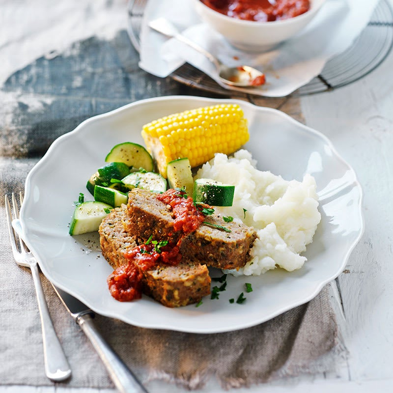 Photo of Pork and veal meatloaf with steamed vegetables by WW