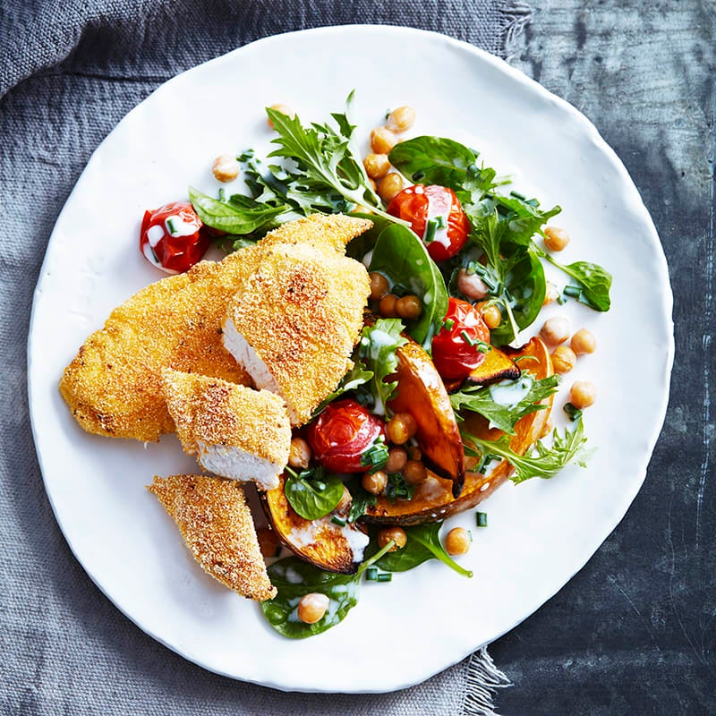 Photo of Spiced polenta chicken tenders with roasted pumpkin and chickpea salad by WW