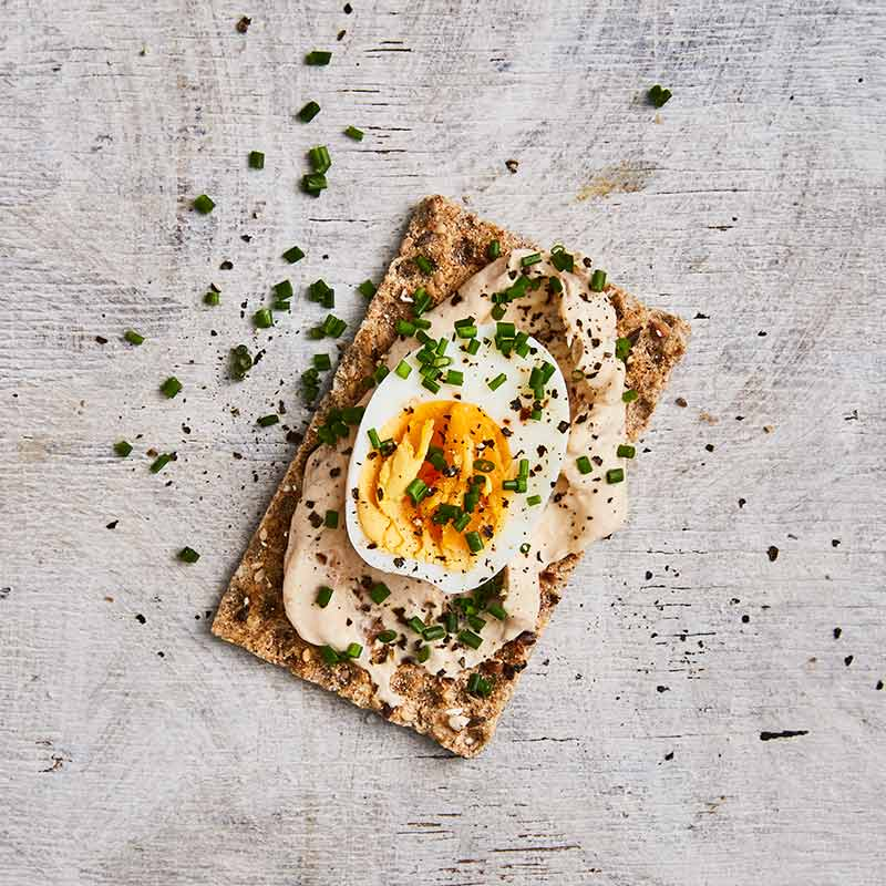 Photo of Crispbread topped with onion dip and egg by WW