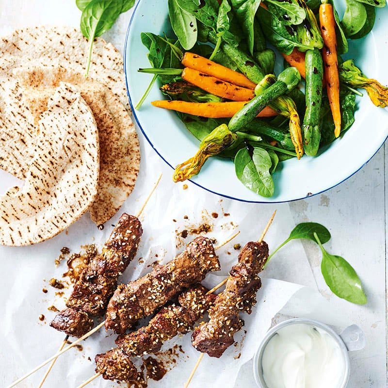 Photo of Dukkah lamb skewers with charred vegetable salad by WW