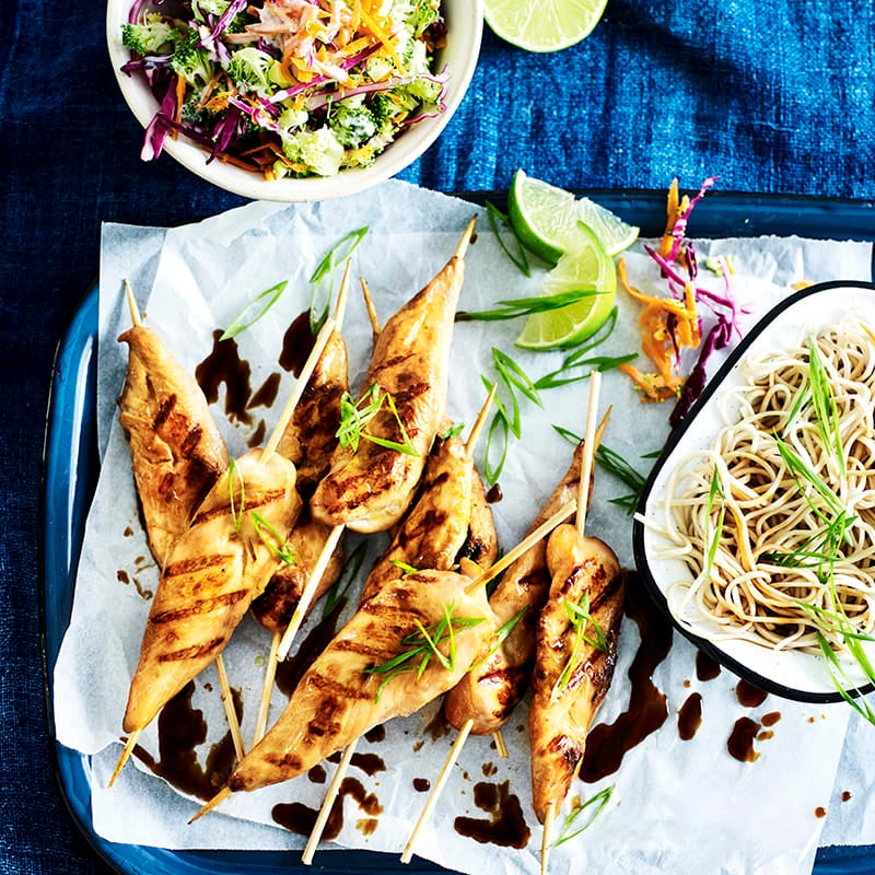 Photo of Chicken teriyaki skewers with broccoli slaw and noodles by WW
